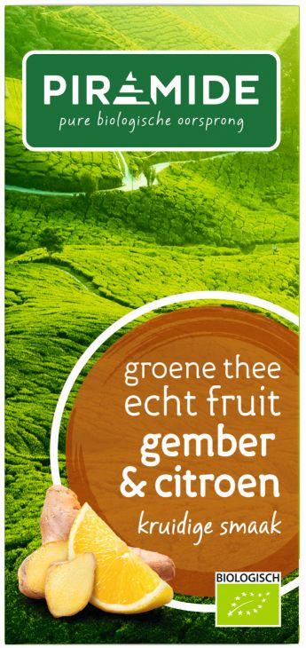 Groene thee met gember en citroen bio